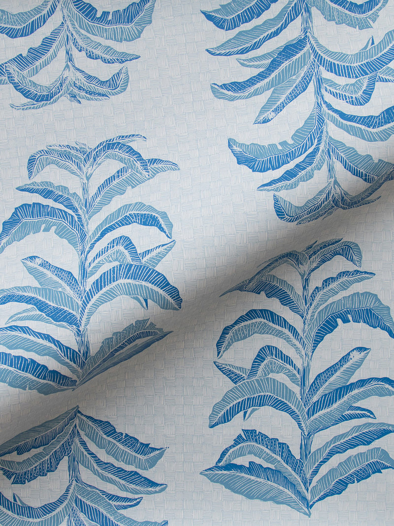 Banana Leaf Wallpaper in Sapphire