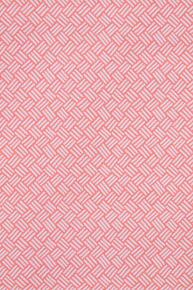 Basketweave Wallpaper in Coral Pink