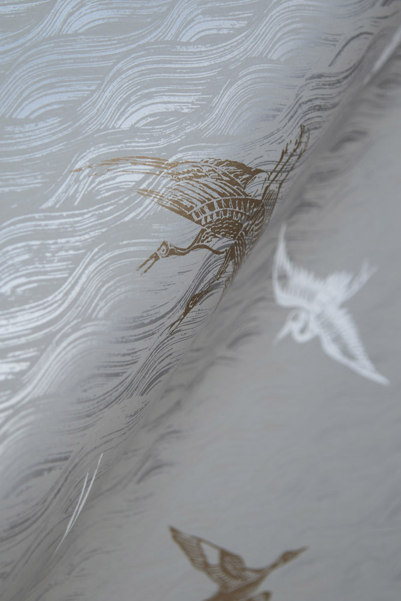 Birds Wallpaper in Silver