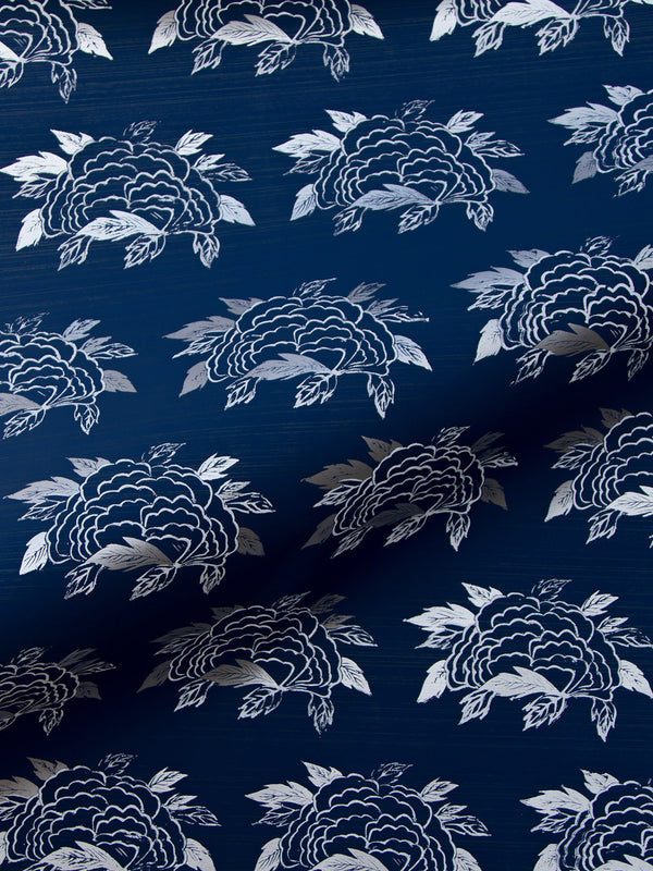 Chrysanthemum Wallpaper in Navy