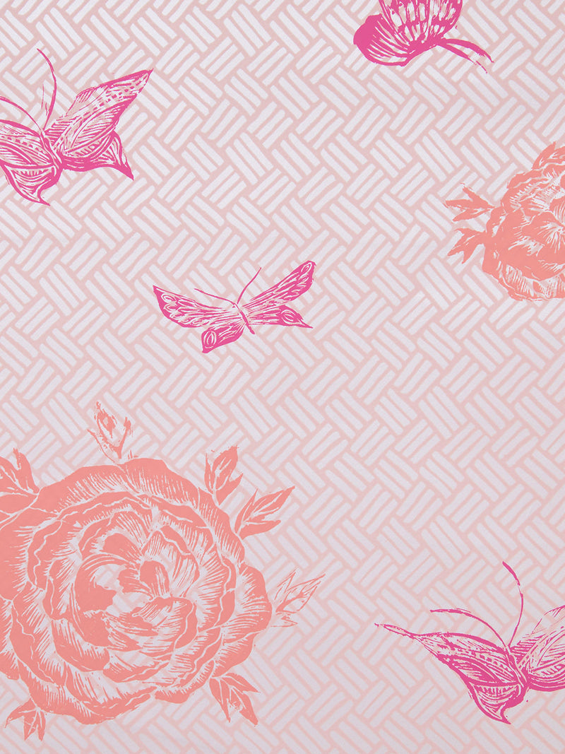 Flora Wallpaper in Coral Pink