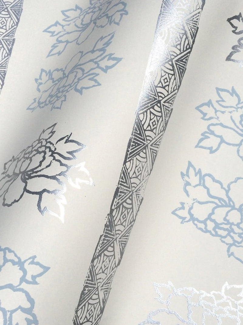 Floral Stripe Wallpaper in Iceberg