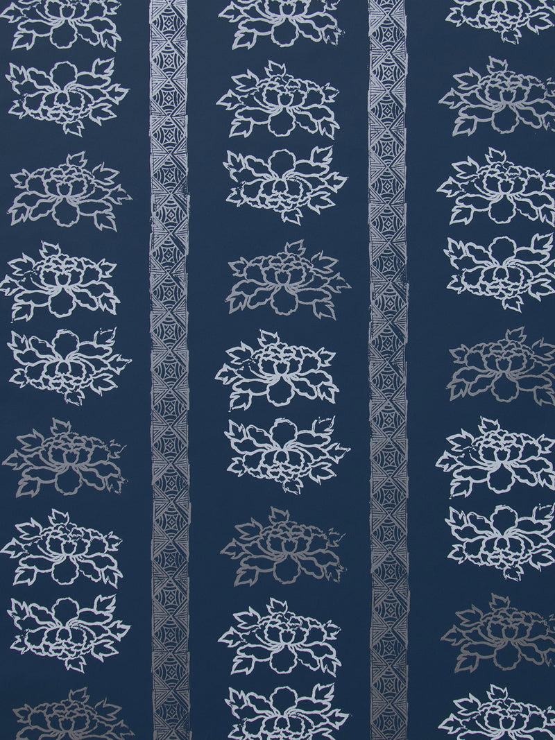 Floral Stripe Wallpaper in Navy