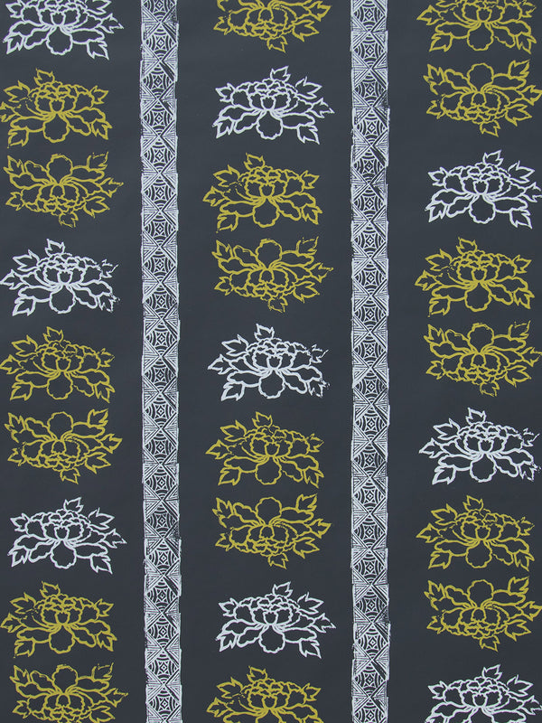 Floral Stripe Wallpaper in Night Lemon