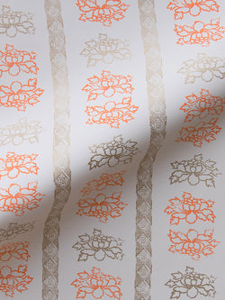 Floral Stripe Wallpaper in Tangerine