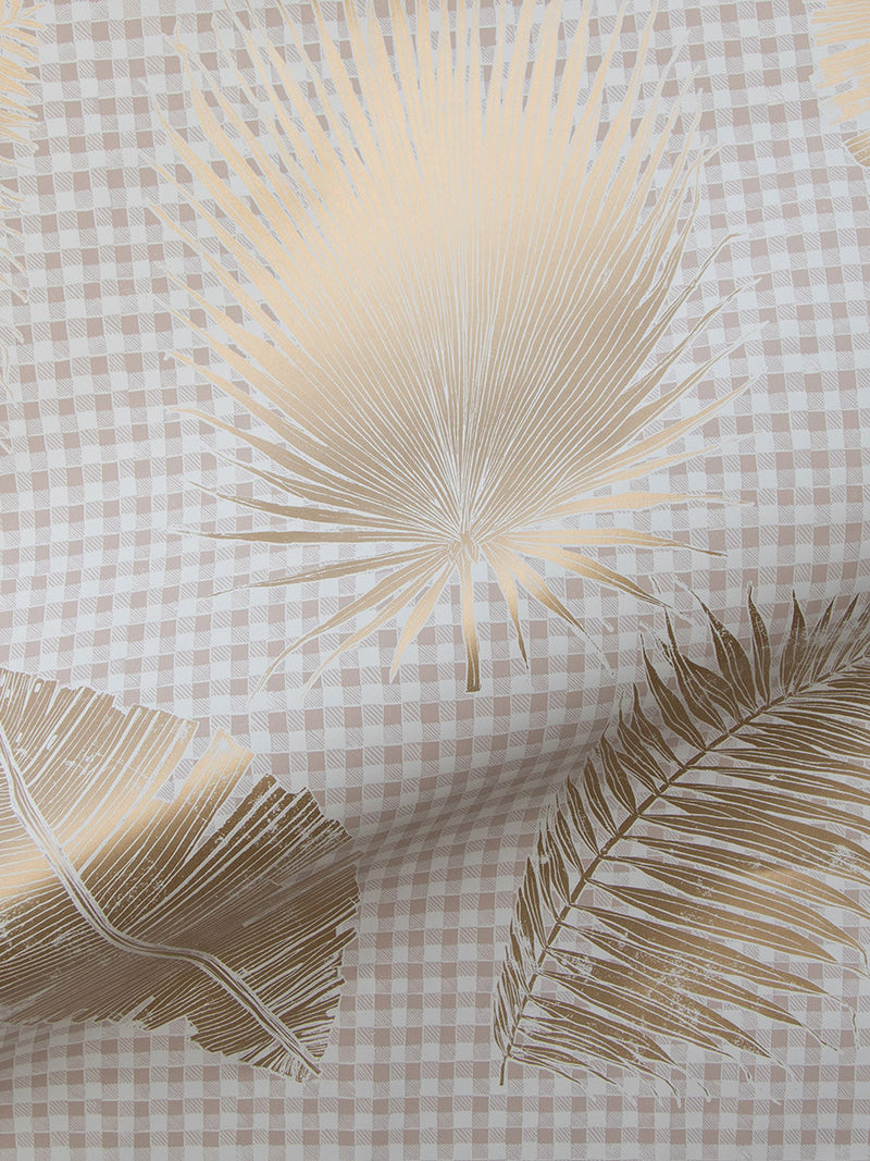 Gingham Jungle Wallpaper in Gold