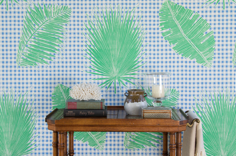 Gingham Jungle Wallpaper in Blue Chip Day