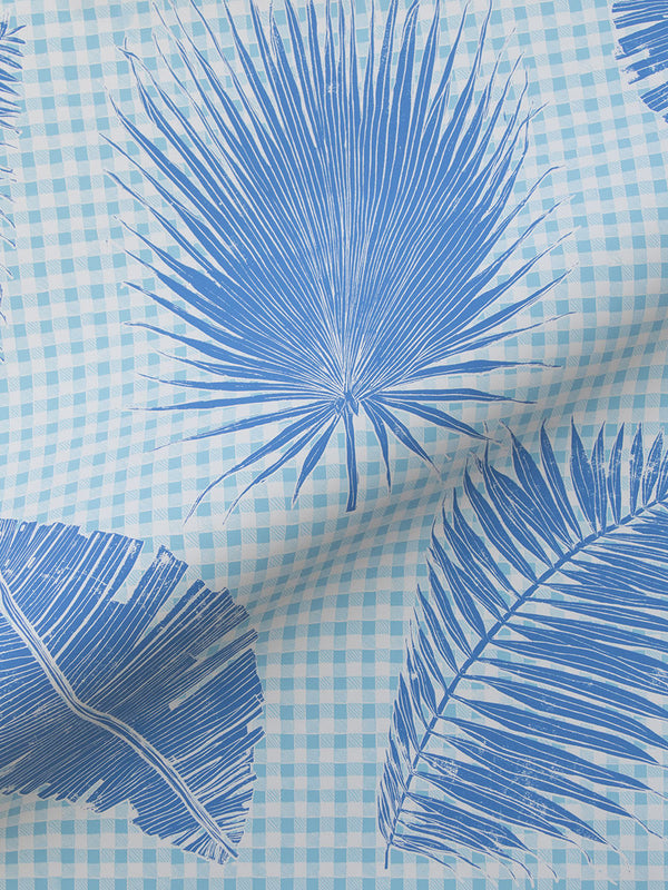 Gingham Jungle Wallpaper in Lapis