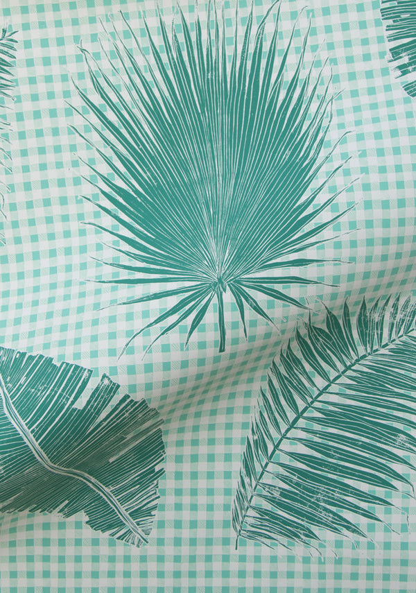 Gingham Jungle Wallpaper in Jade