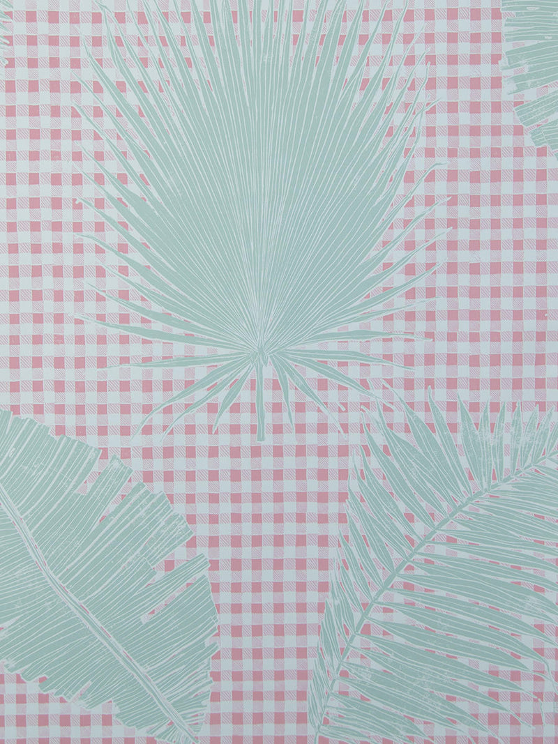 Gingham Jungle Wallpaper in Pink Sage