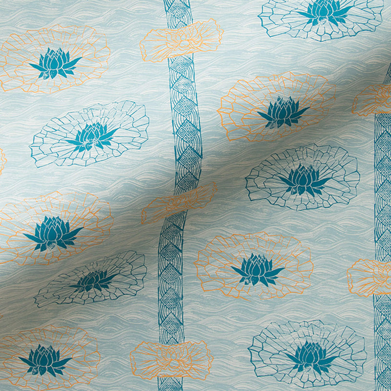 Lotus Stripe Wallpaper in Celadon