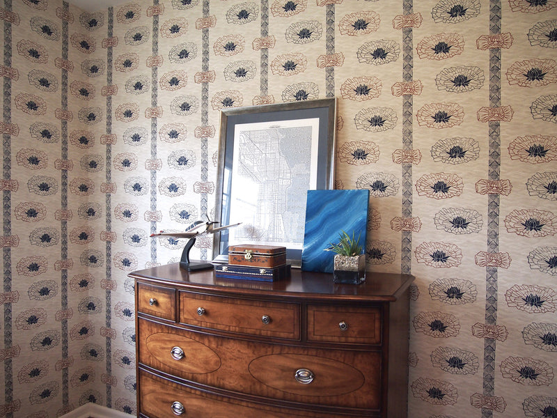 Lotus Stripe Wallpaper in Nautical