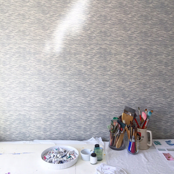 Painted Wave Wallpaper in French Grey