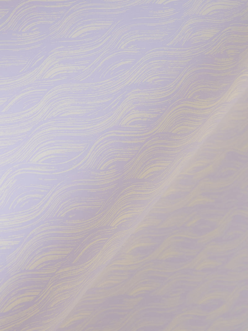 Painted Wave Wallpaper in Lavender