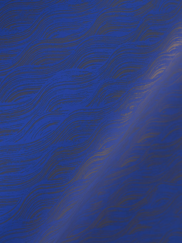 Painted Wave Wallpaper in Ultramarine