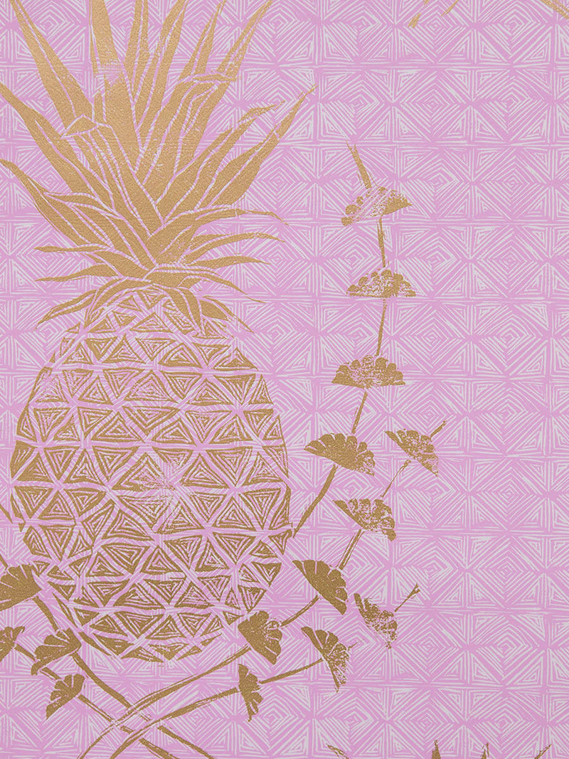 Royal Pineapple Wallpaper in Pink