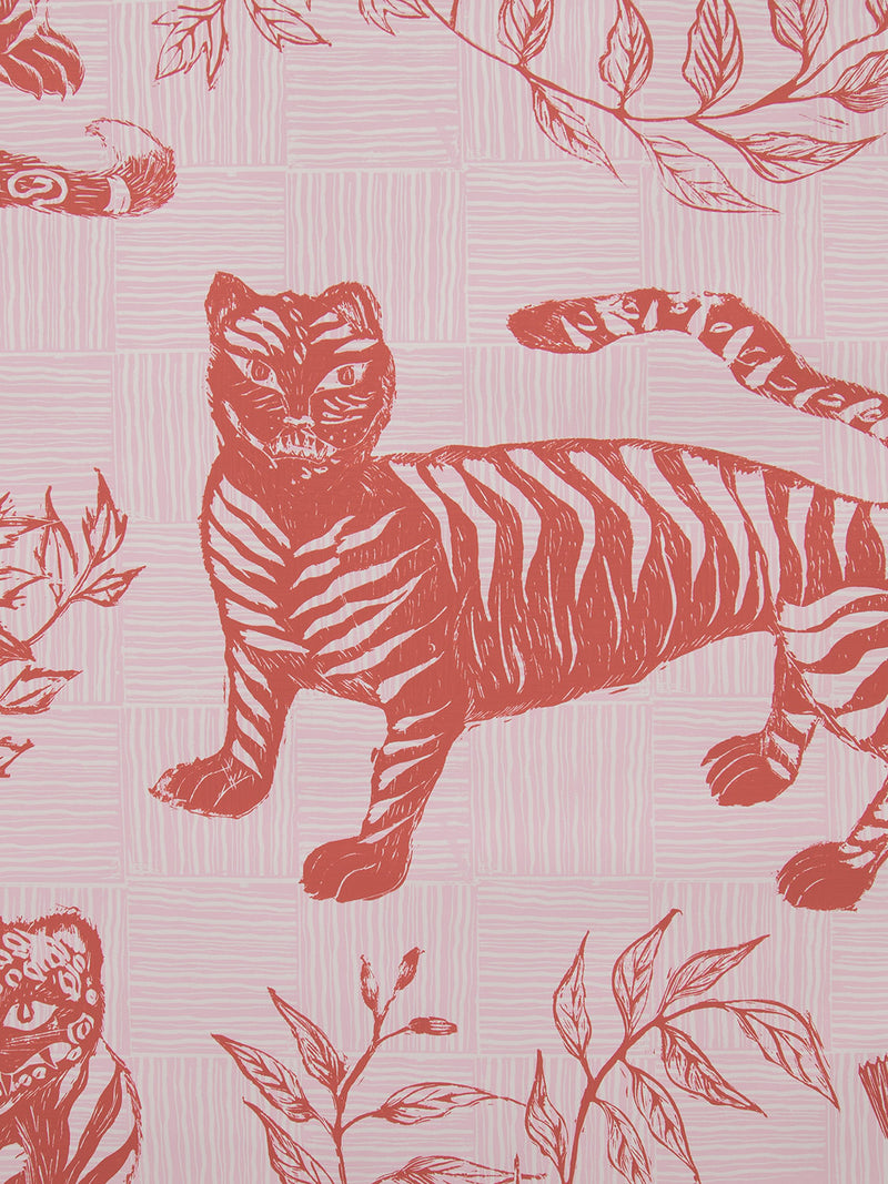 Tiger & Magpie Wallpaper in Carmine