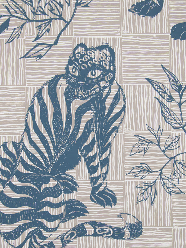 Tiger & Magpie Wallpaper in Deep Blue