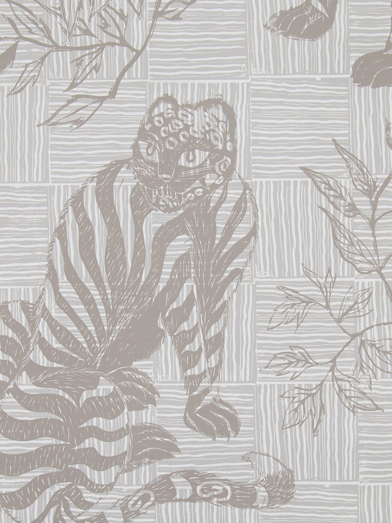 Tiger & Magpie Wallpaper in Dune