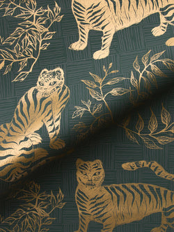 Tiger & Magpie Wallpaper in Hunter