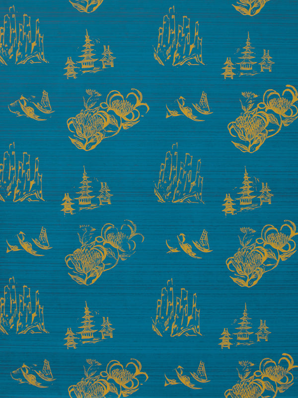 Toile Wallpaper in Azure