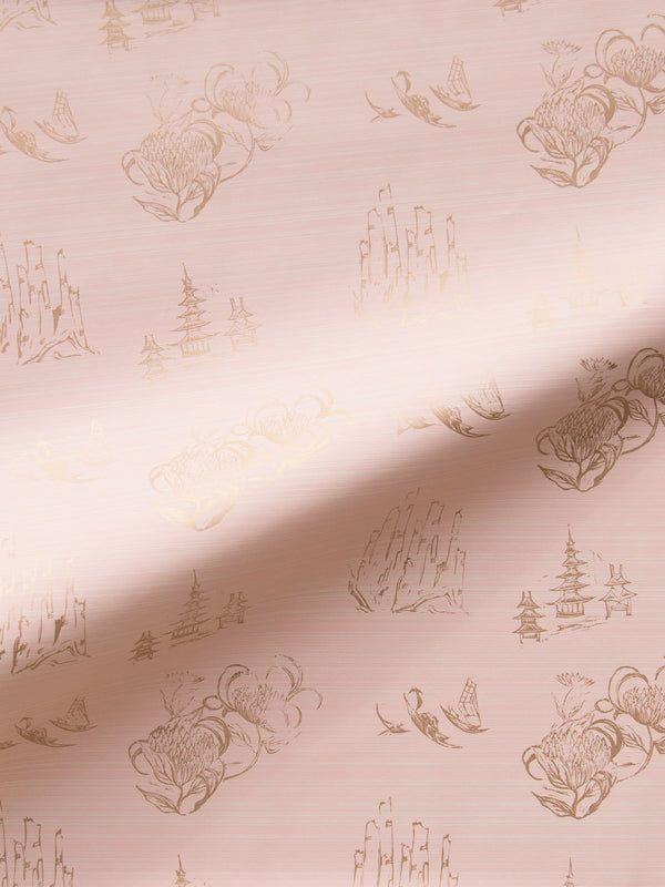 Toile Wallpaper in Blush