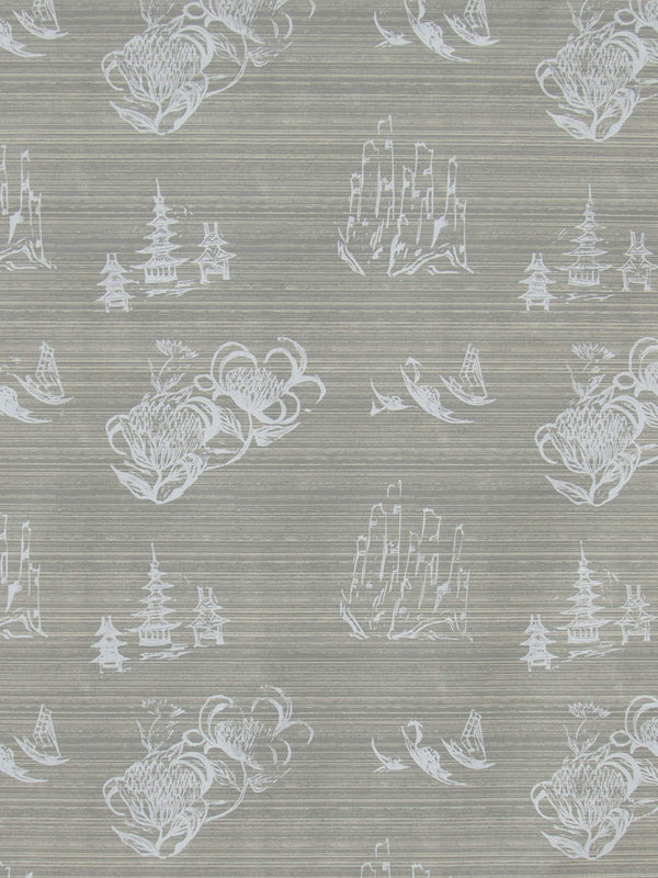 Toile Wallpaper in French Grey