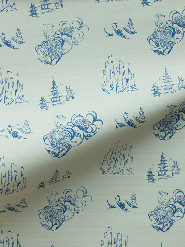 Toile Wallpaper in Mint