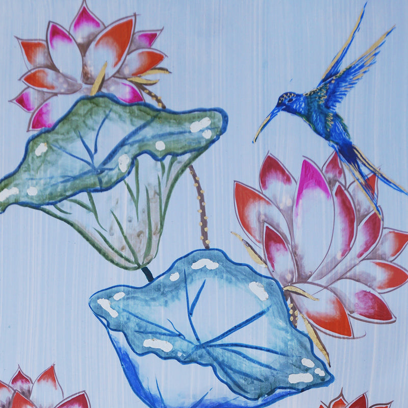 Lotus Flowers and Hummingbird