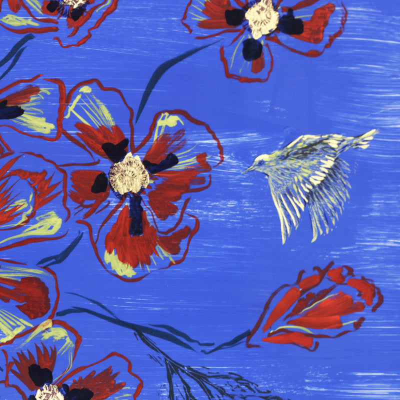 Poppies and Yellow Warblers Print