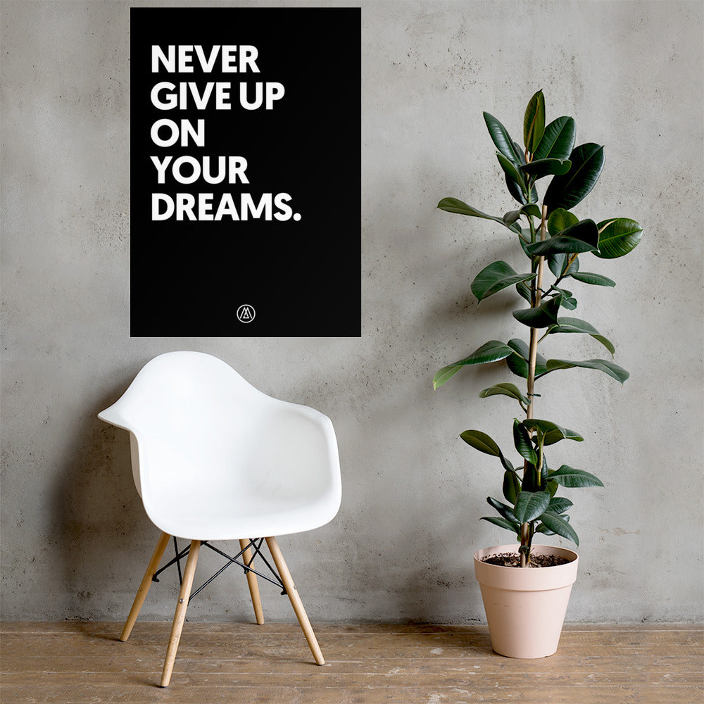 Poster motivation NEVER GIVE UP ON YOUR DREAMS by Jetmindset