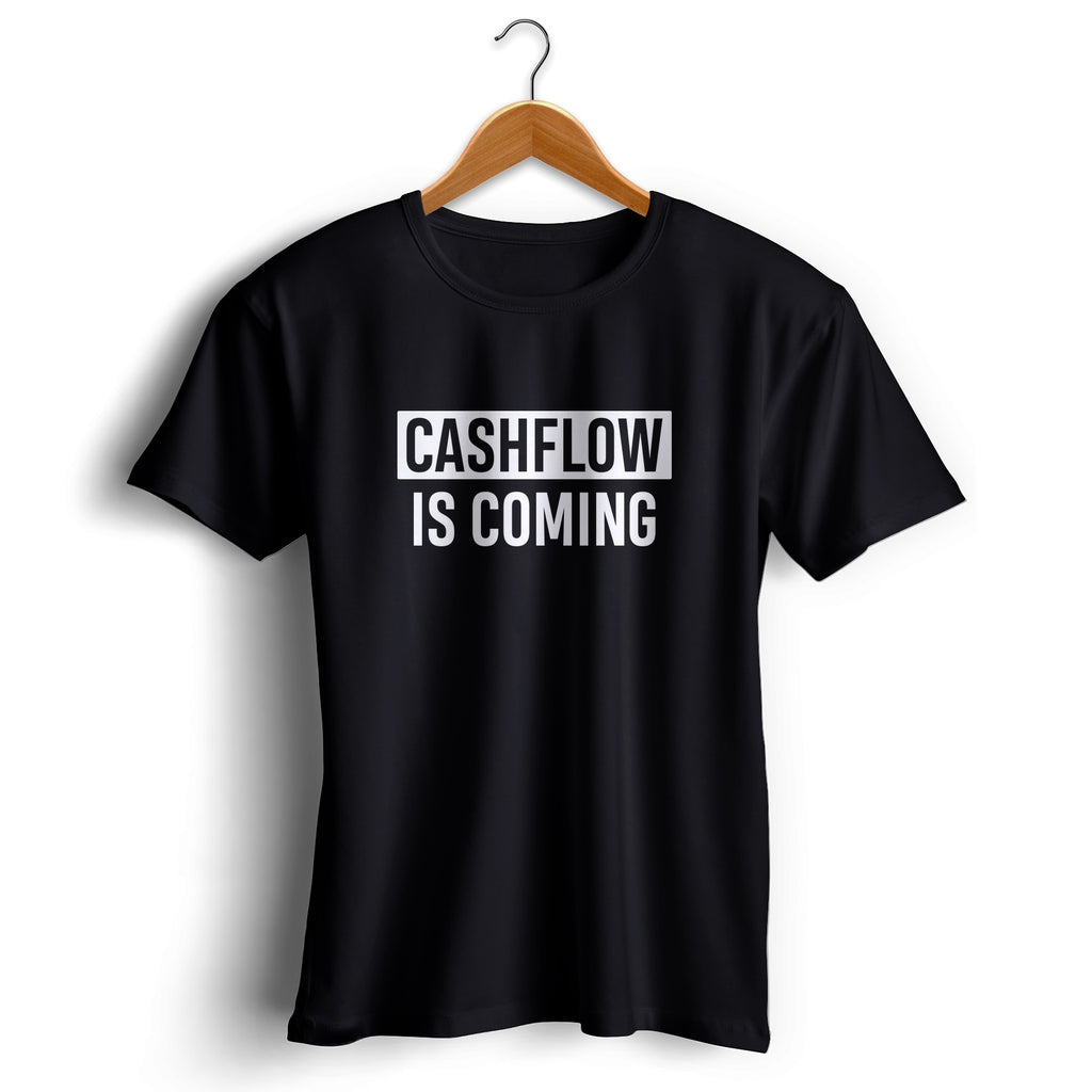 T-shirt Cashflow is coming noir sur cintre en bois