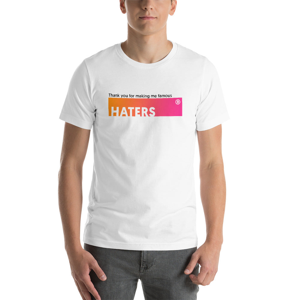 T-shirt Thank You HATERS blanc pour homme Jetmindset