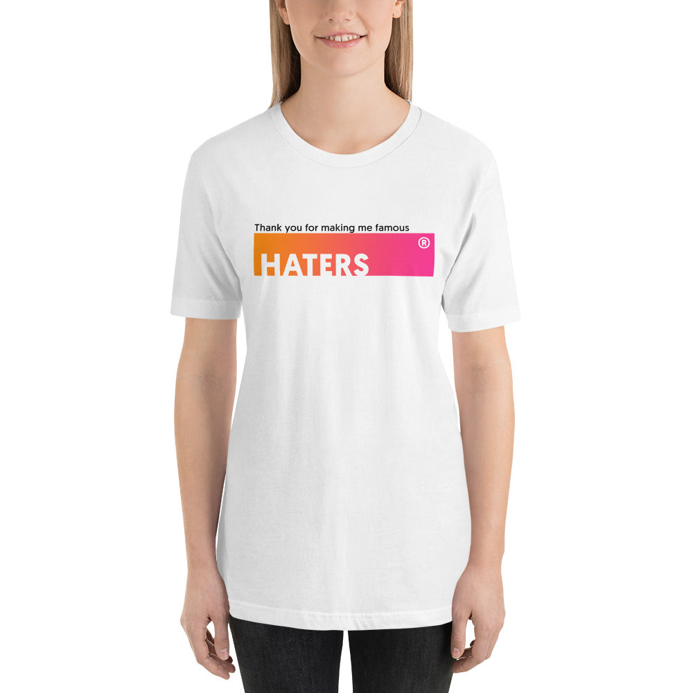 T-shirt Thank You HATERS blanc pour femme Jetmindset