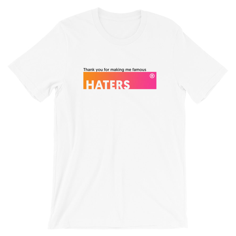 T-shirt THANK YOU HATERS blanc by Jetmindset