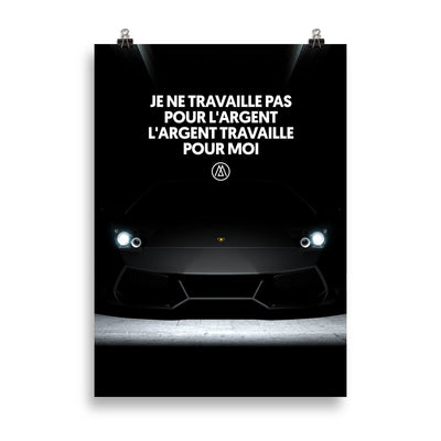 Poster motivation Ferrari noire citation argent