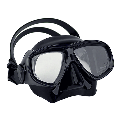 Halcyon Low-Profile Dual Lens Mask, with black Frame and black Skirt. Dive Line Store.
