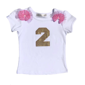 Open image in slideshow, Glitter Number Birthday Top