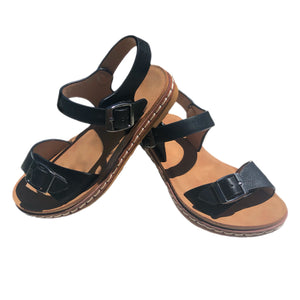 Open image in slideshow, Black Buckle Strap Sandals