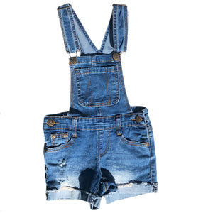 Open image in slideshow, Denim Distressed Overalls