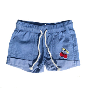 Open image in slideshow, Cherry Denim Drawstring Shorts