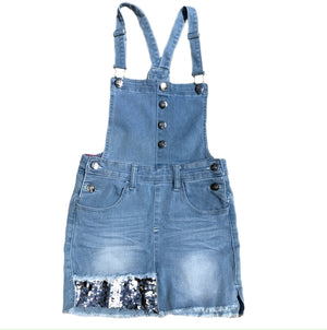 Open image in slideshow, Sequin Denim Skirt Overalls
