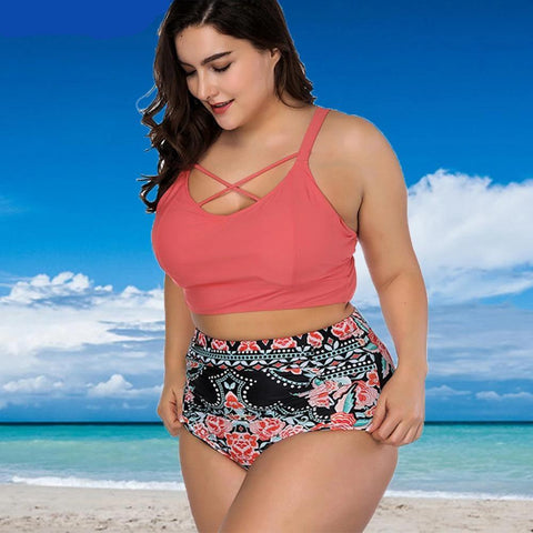 Floral High Waist Plus Size Bikini Swimsuit Set