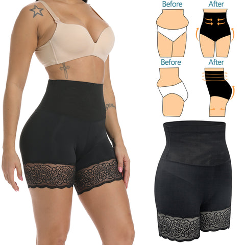 Lace Trim High Waist Shapewear