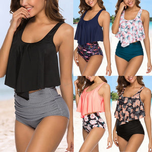 Ruffled High Waist Tankini Swimsuit Set