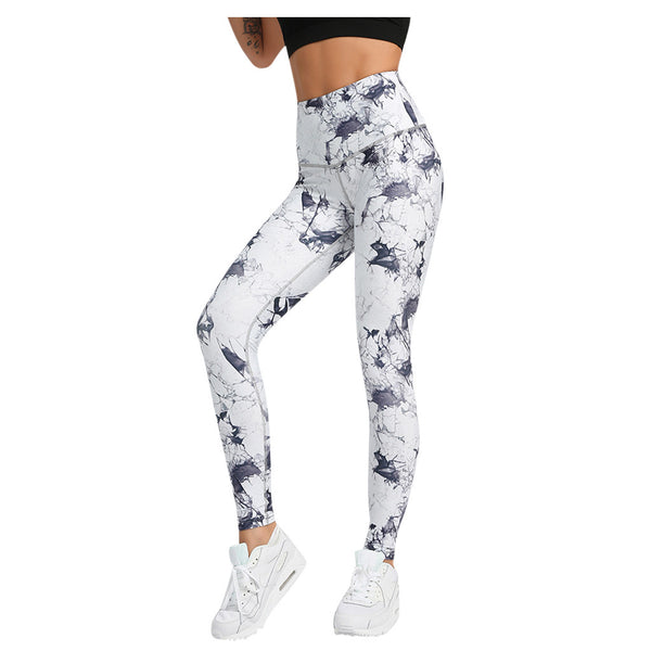 High Waist Marble Print Fitness Workout Leggings