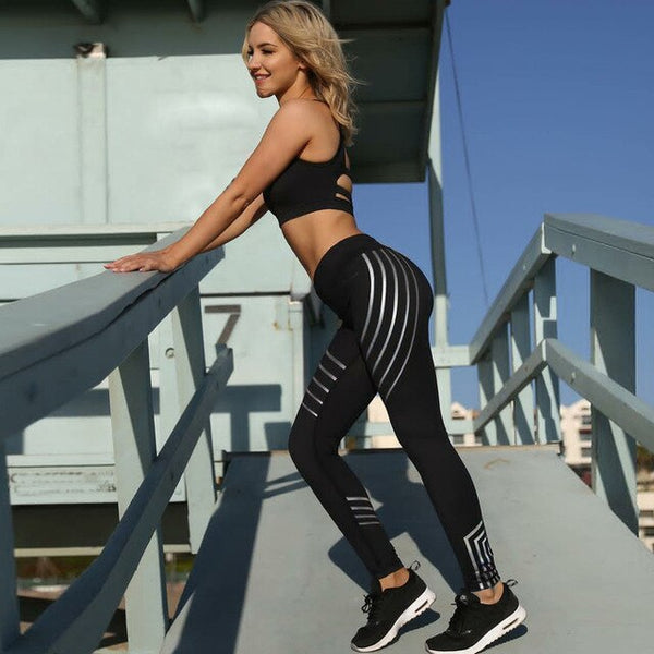 Glossy Striped Fitness Workout Leggings