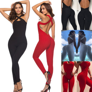 Women's Cute Cross Back Workout Jumpsuit