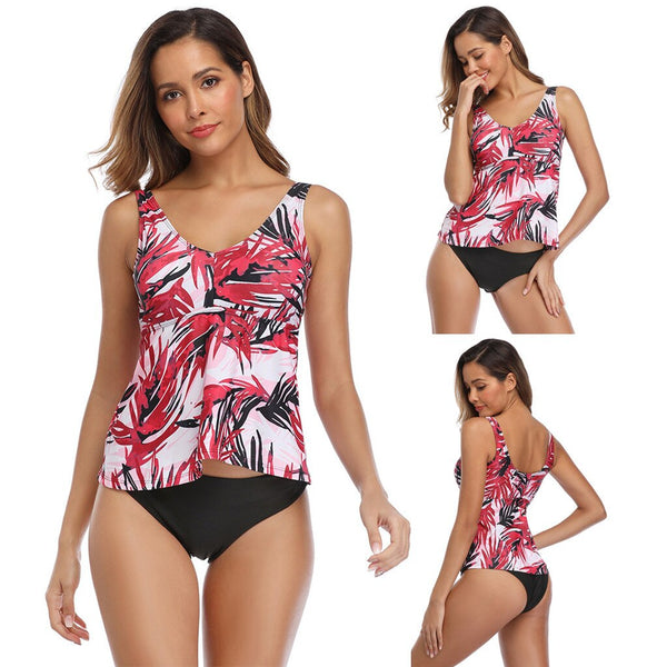 Pink Leaf Printed Tankini Swimsuit Set