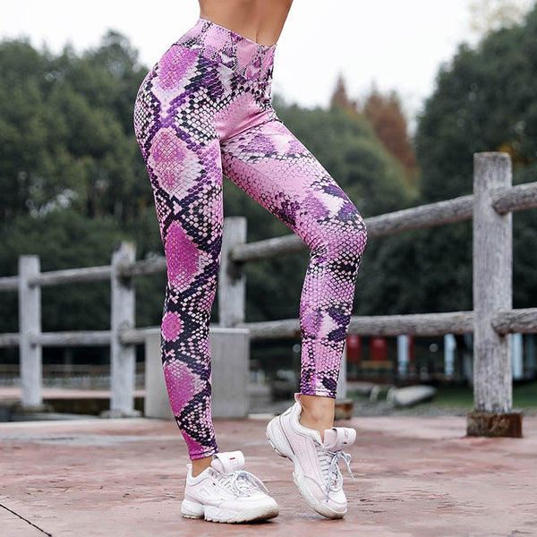 High Waist Snake Skin Fitness Workout Leggings